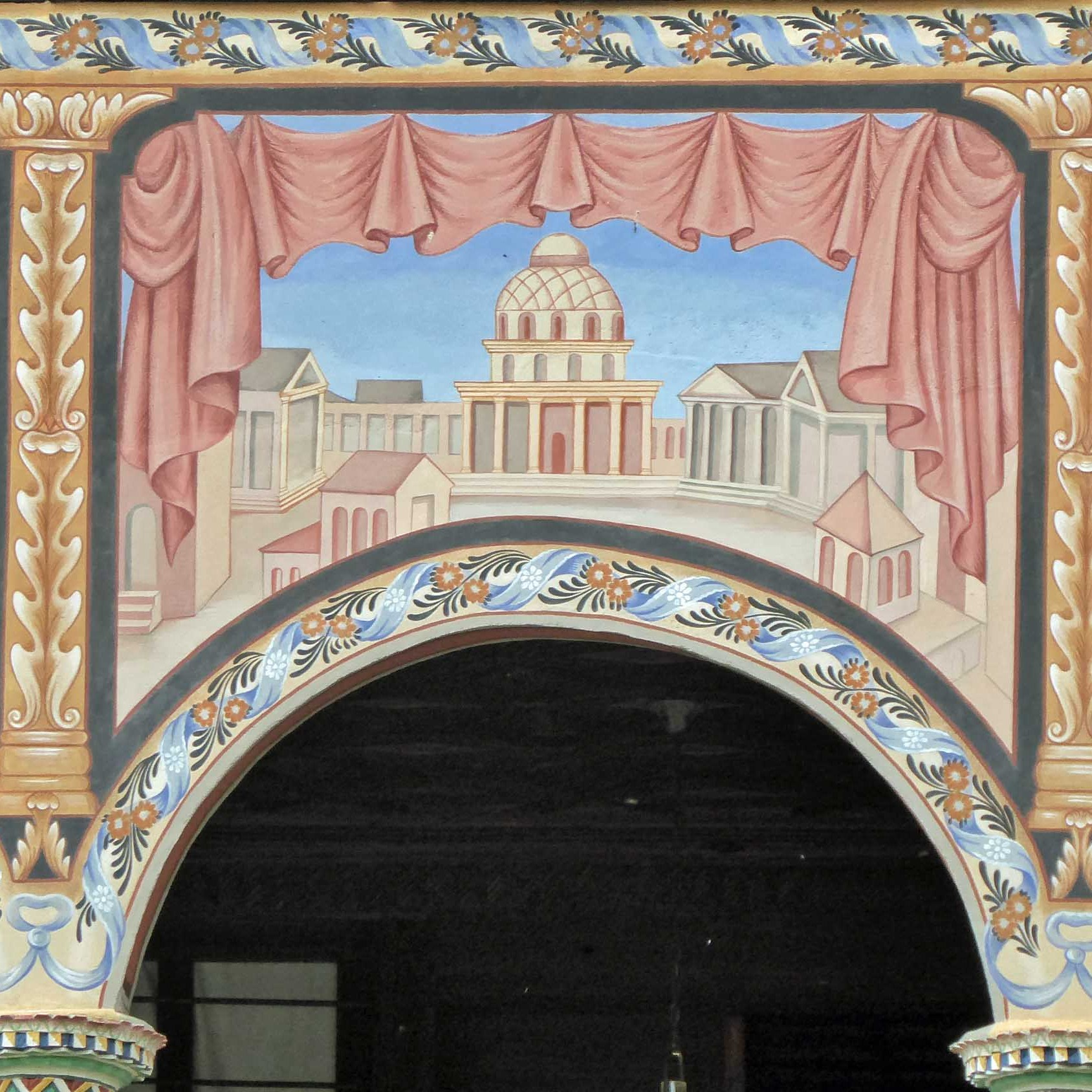 Wall paintings on an arch