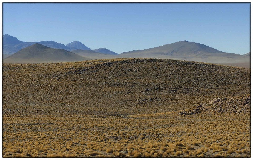 Scrubby landscape and low mountains