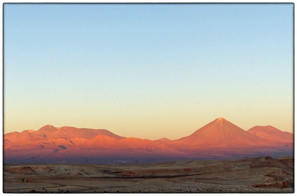 Sunset glow on mountains