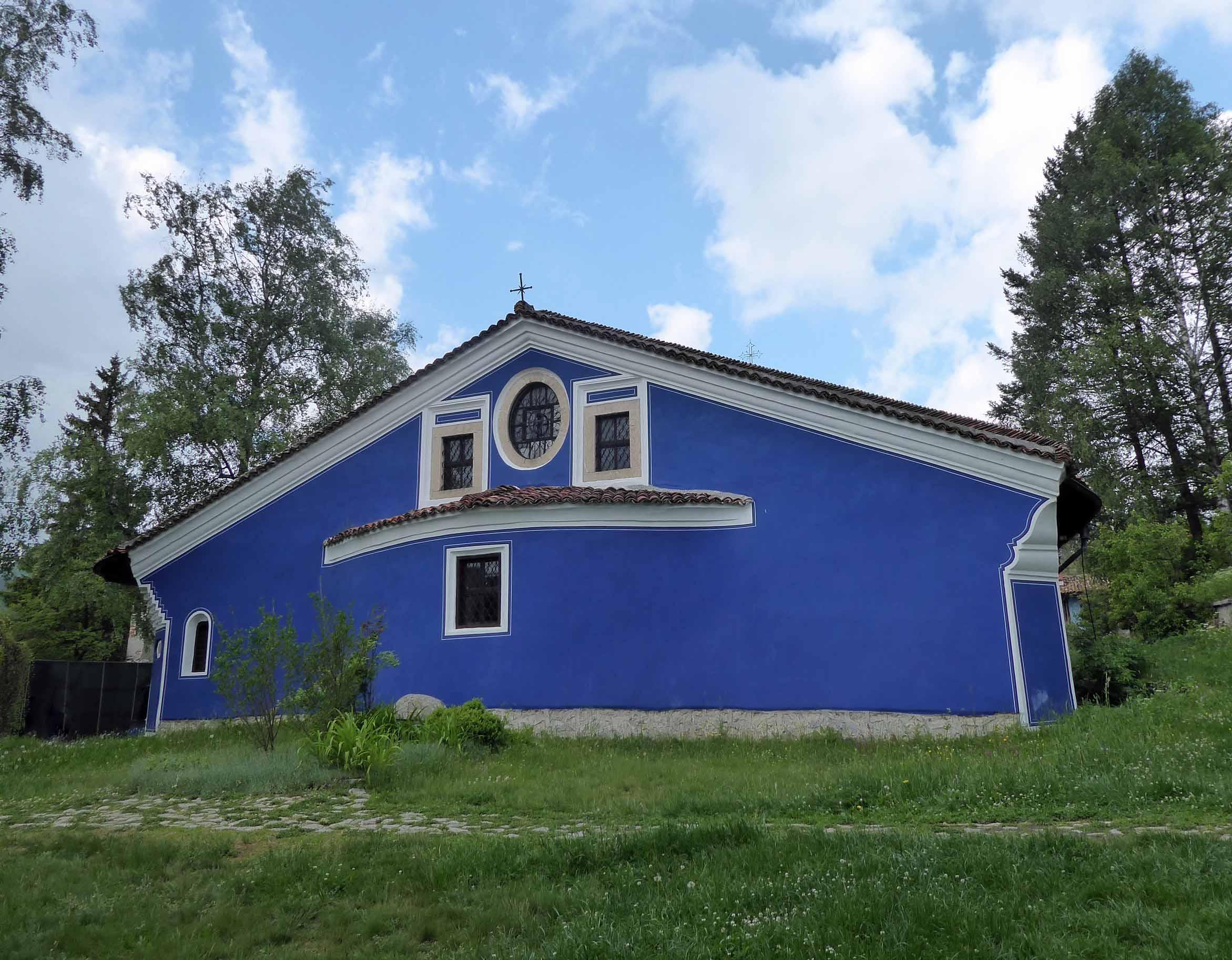 Church painted deep blue