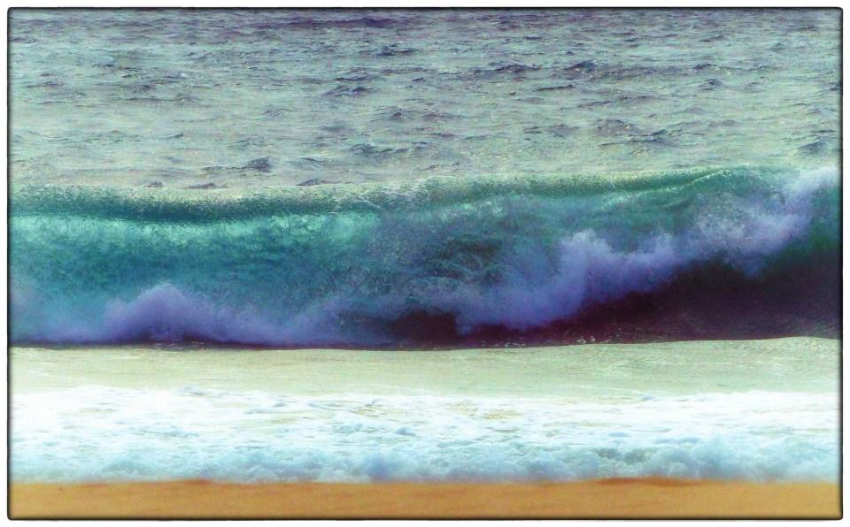 Waves breaking on a beach
