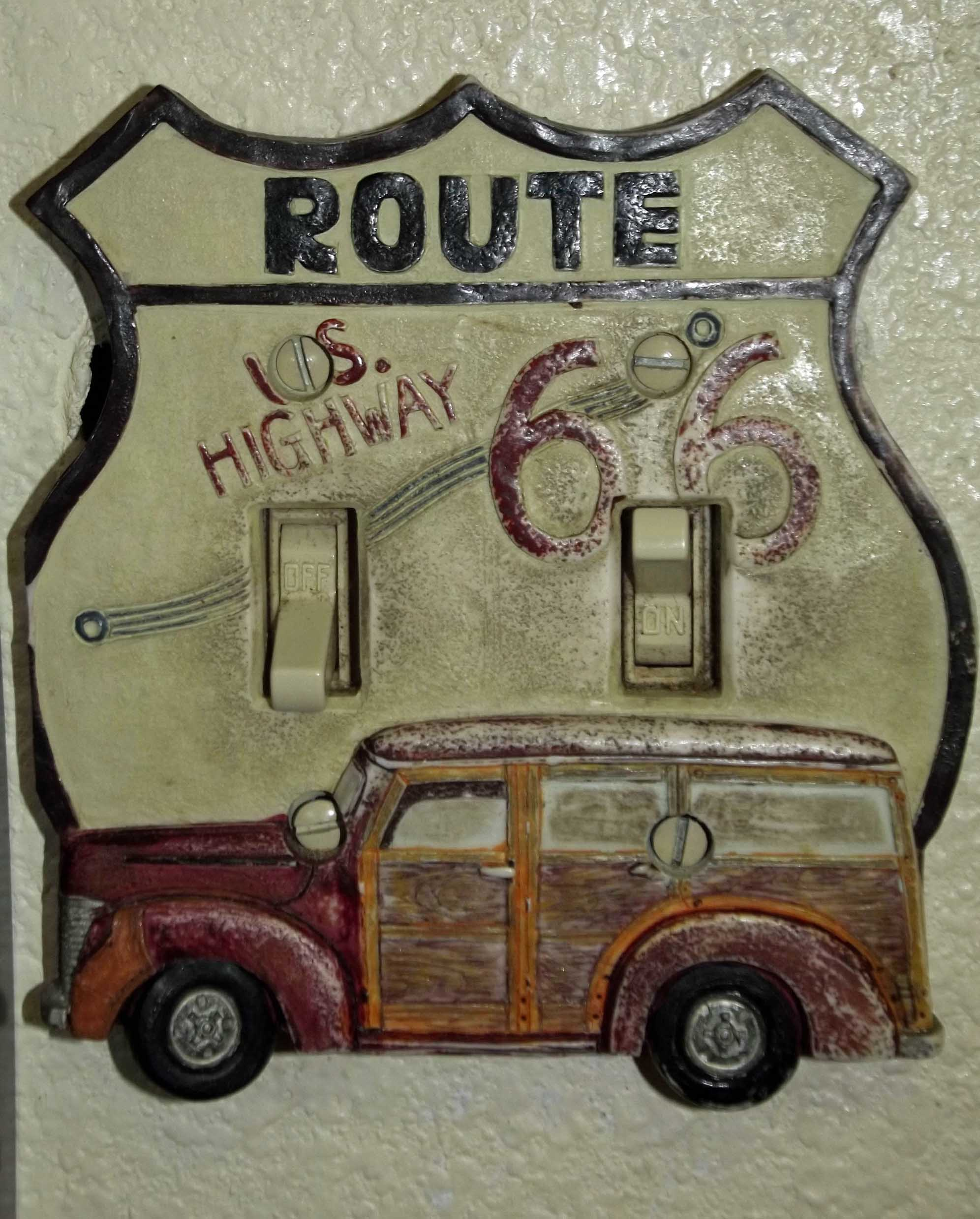 Route 66 sign with light switches