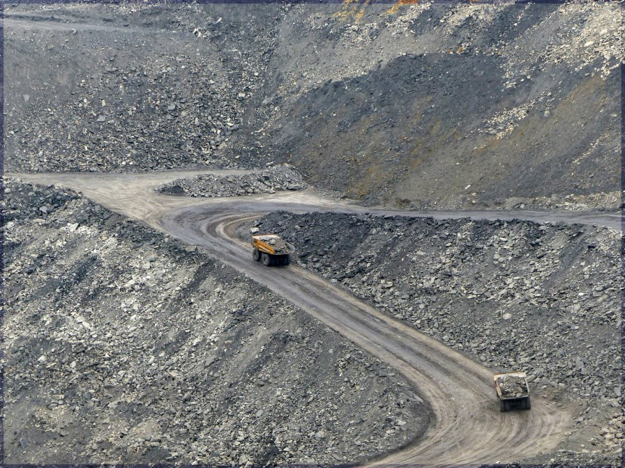 Large quarry with trucks