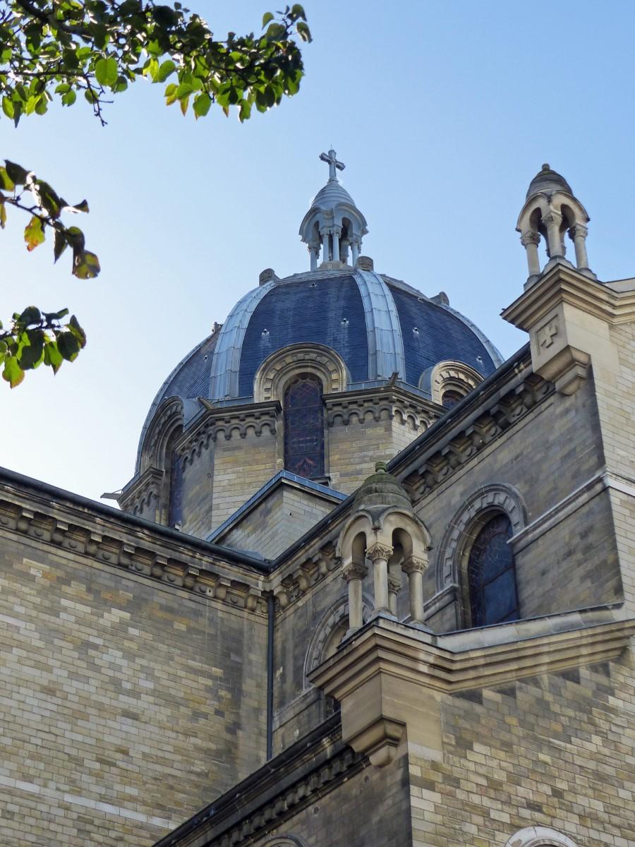 Looking up at a domed church