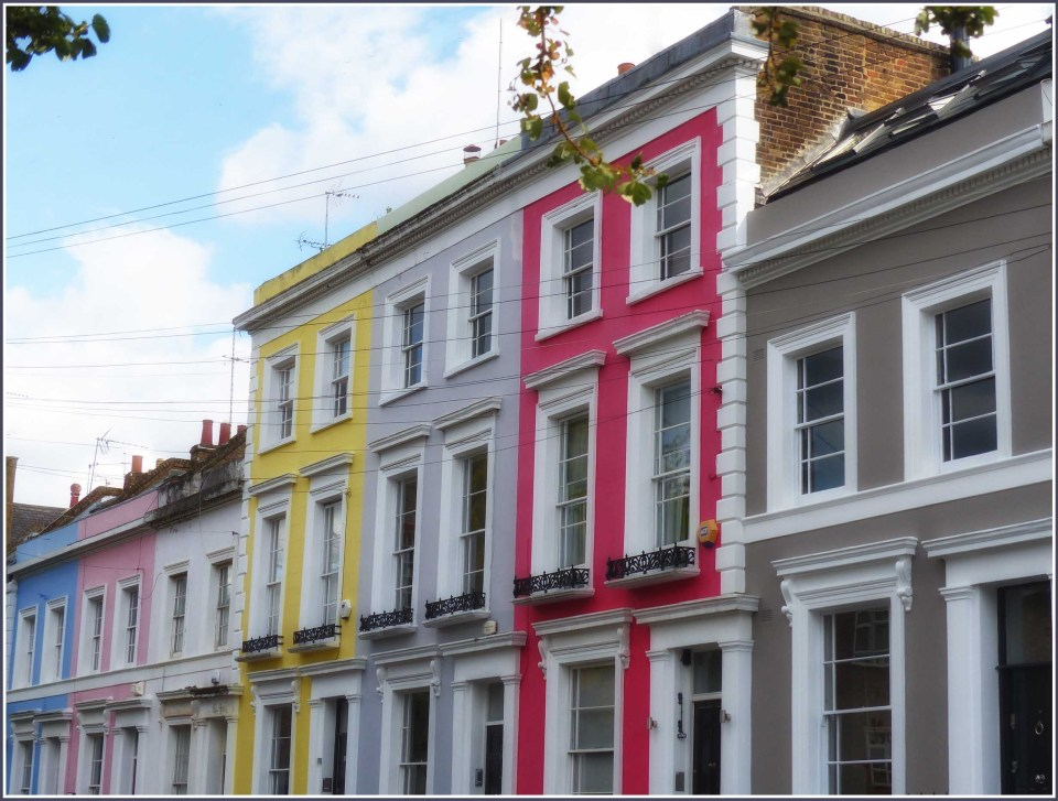 Terrace of houses painted in bright colours