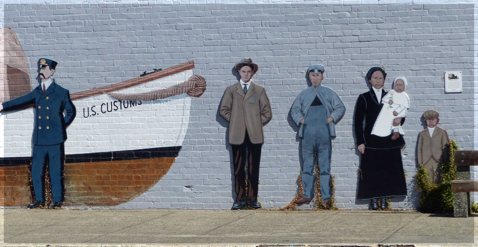 Mural of small boat and people in old fashioned clothes