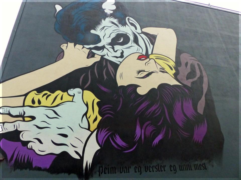 Huge mural of vampire-like creature
