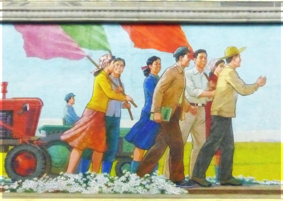 Mosaic of people with flags and a tractor