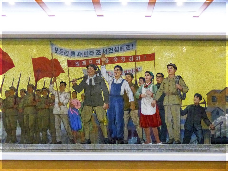 Mosaic of people with flags and banners