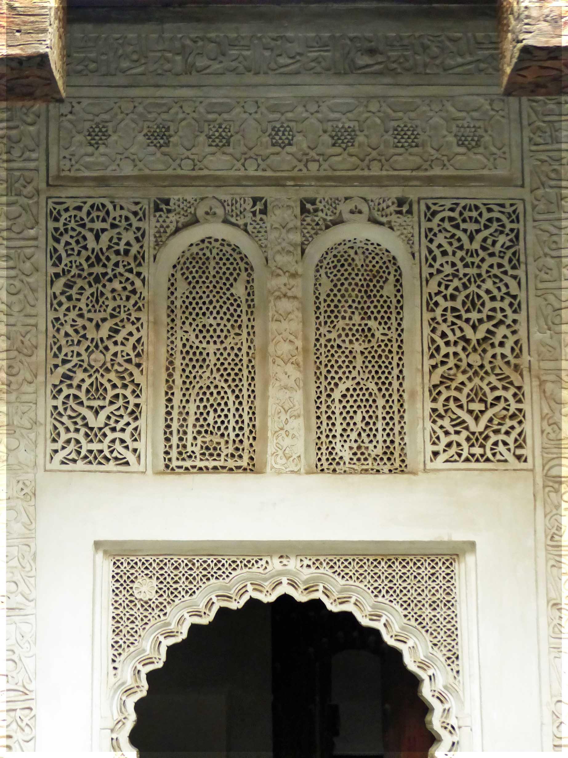 Ornate white stone lattice work