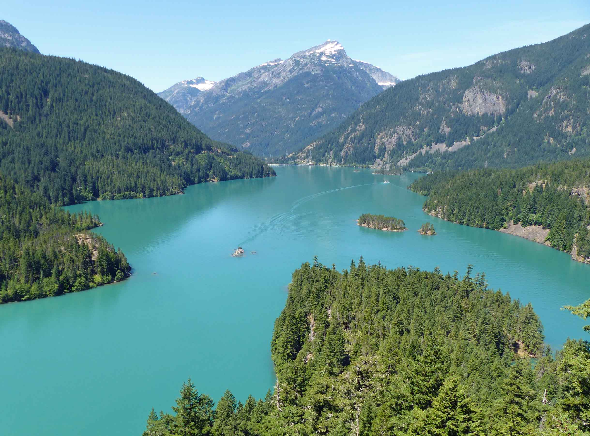 Looking down at turquoise lake among pine covered mountains