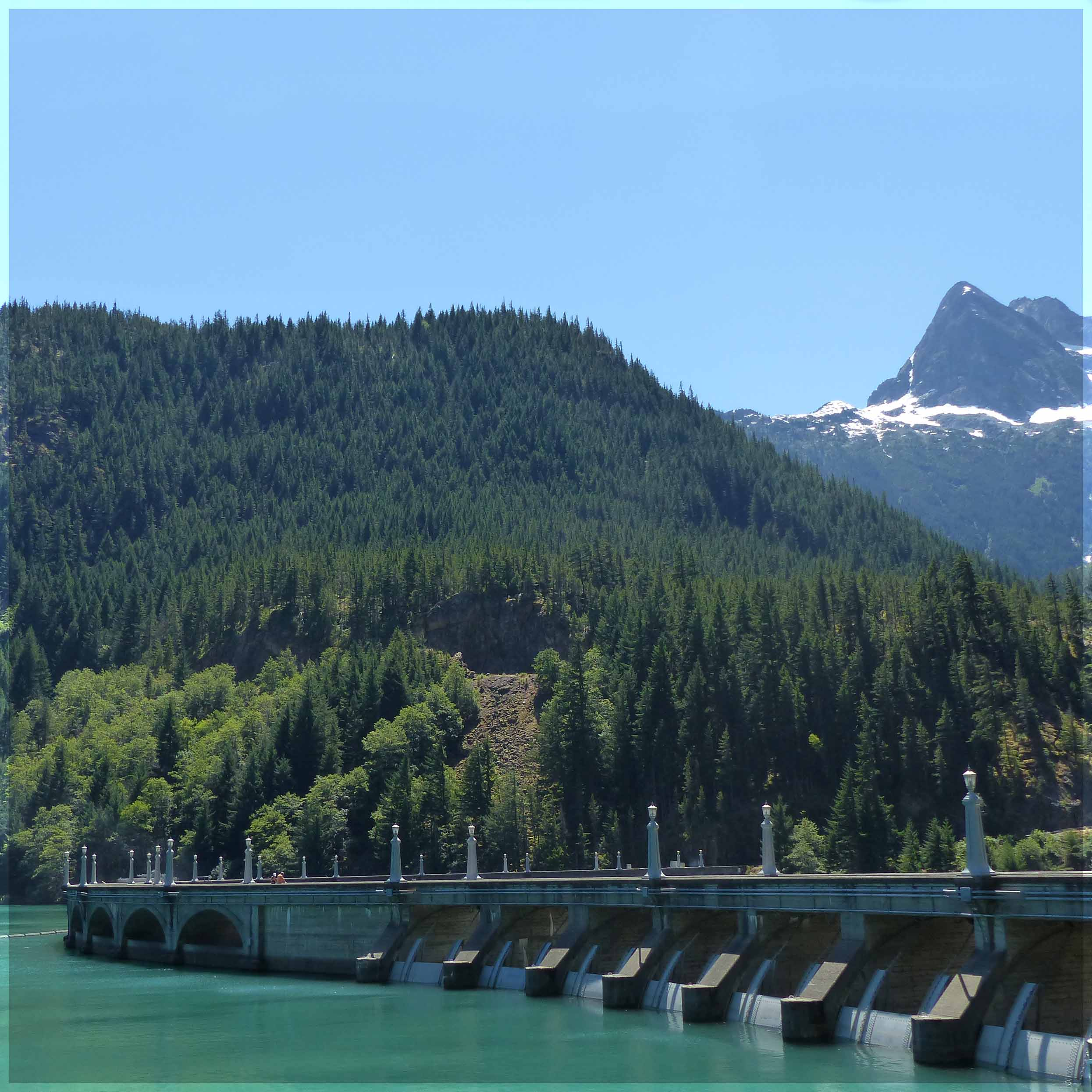 Dam with pine covered mountains behind