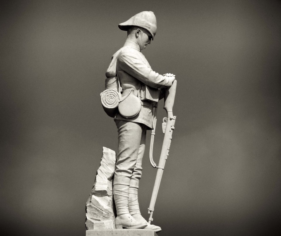 Statue of a soldier in sepia