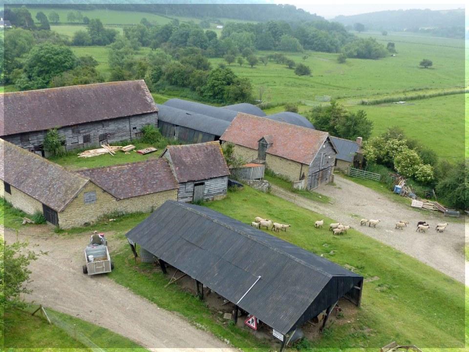 Looking down at a farmyard and sheep