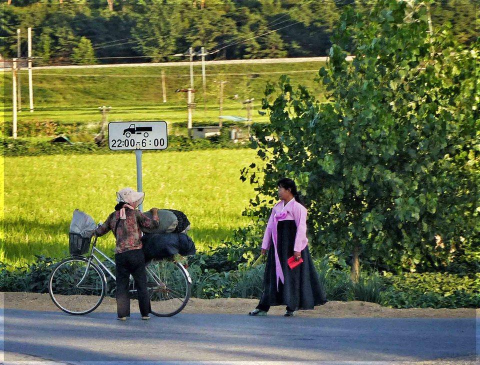Two ladies talking beside a field, one in traditional Korean dress