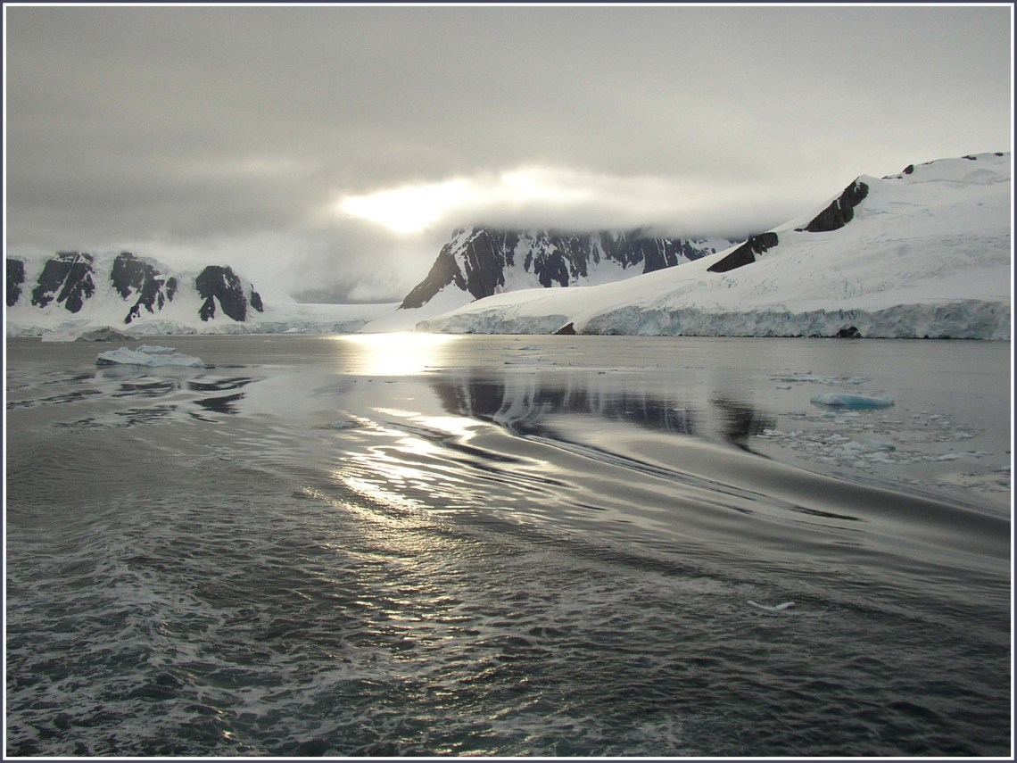 Seascape with icebergs and snowy shores