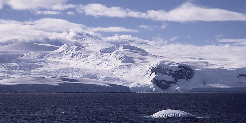 Snowy coastline and iceberg