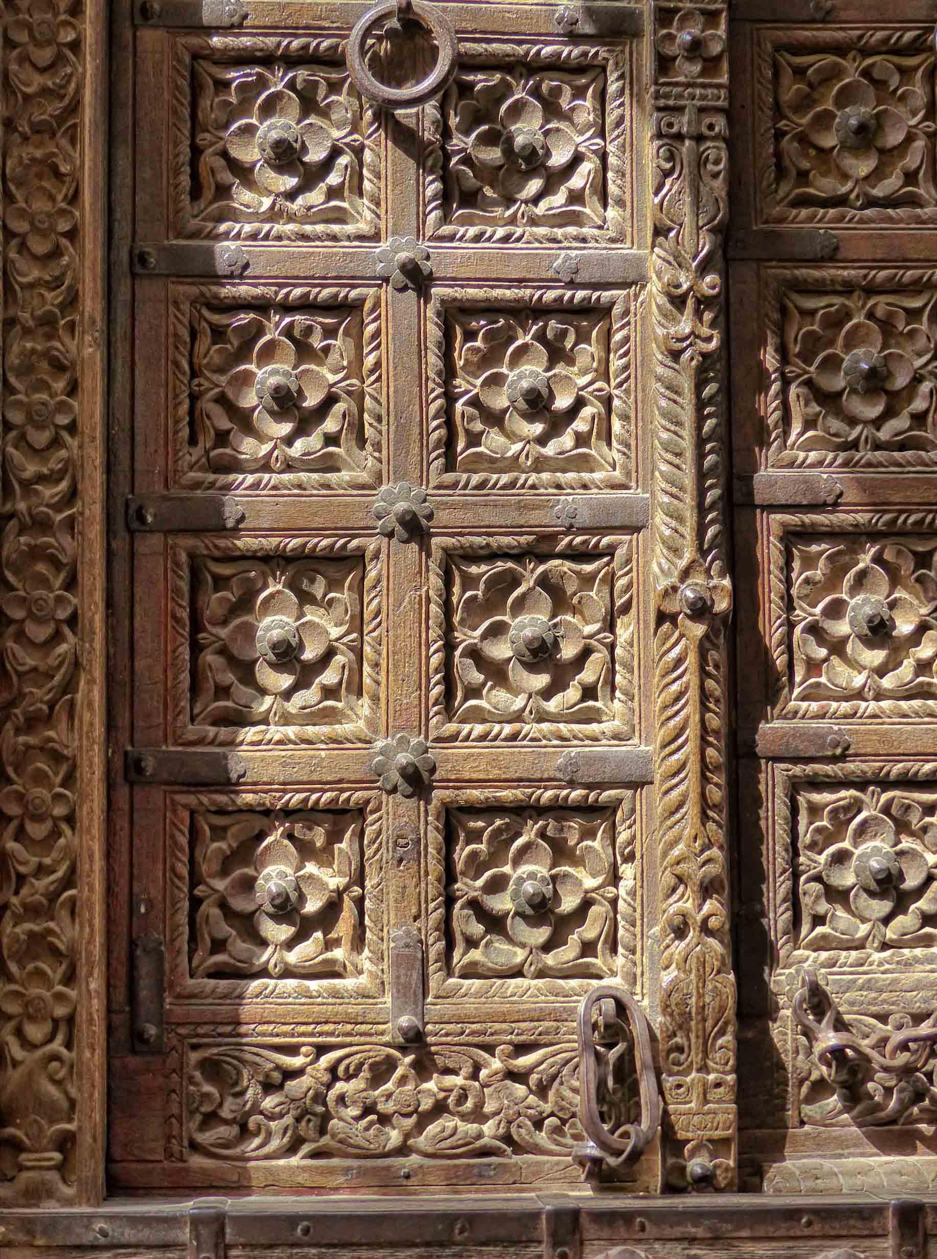 Detail of carved wooden door