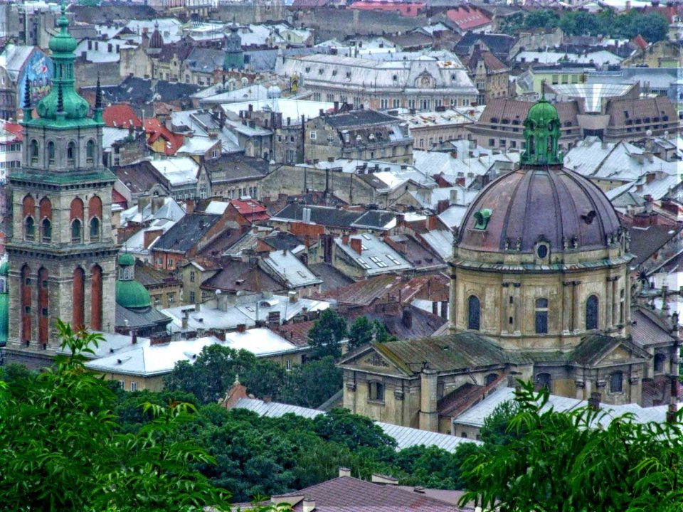 Looking down on a church dome and city buildings