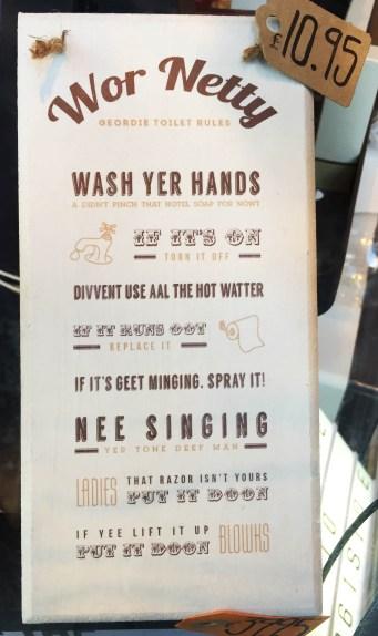 Sign with series of rules in Geordie