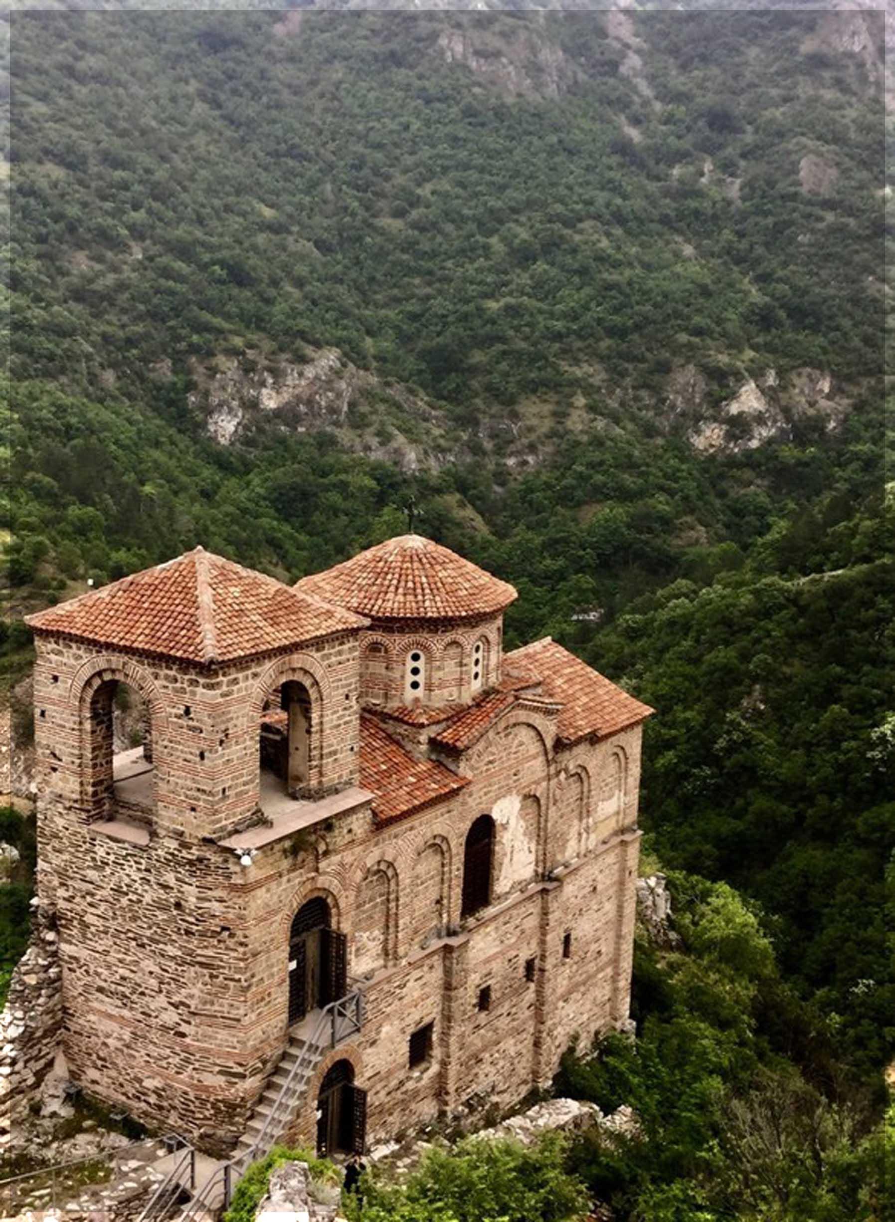 Looking down at a small church
