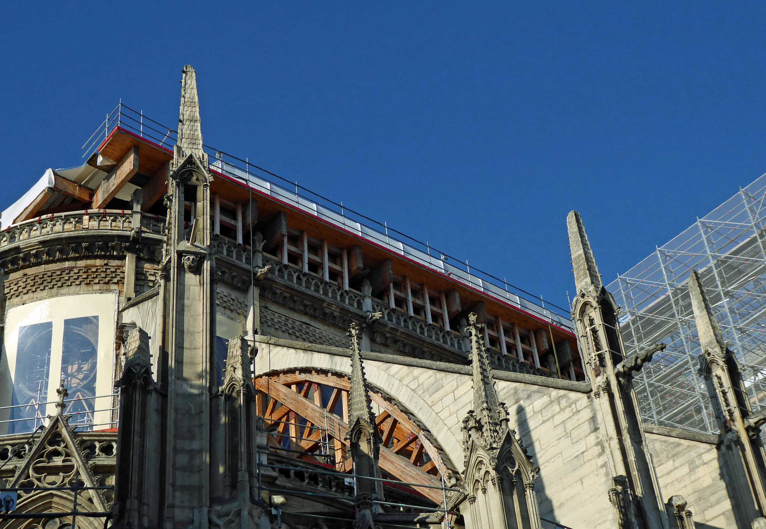 Part of a cathedral building with scaffolding