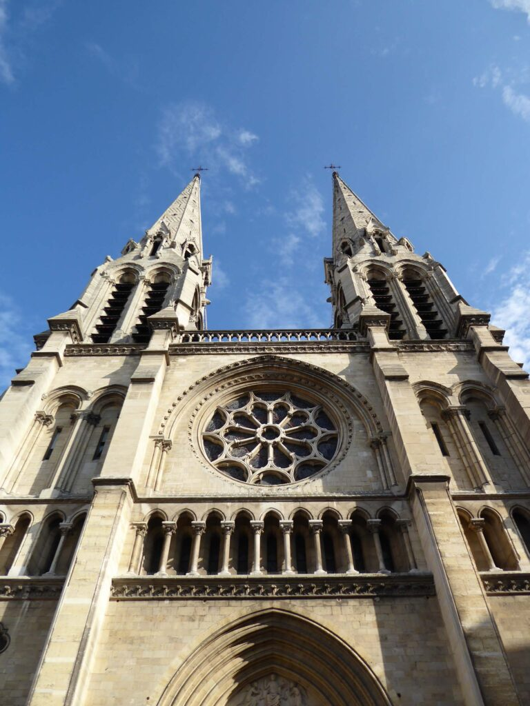 Facade of a church with two spires