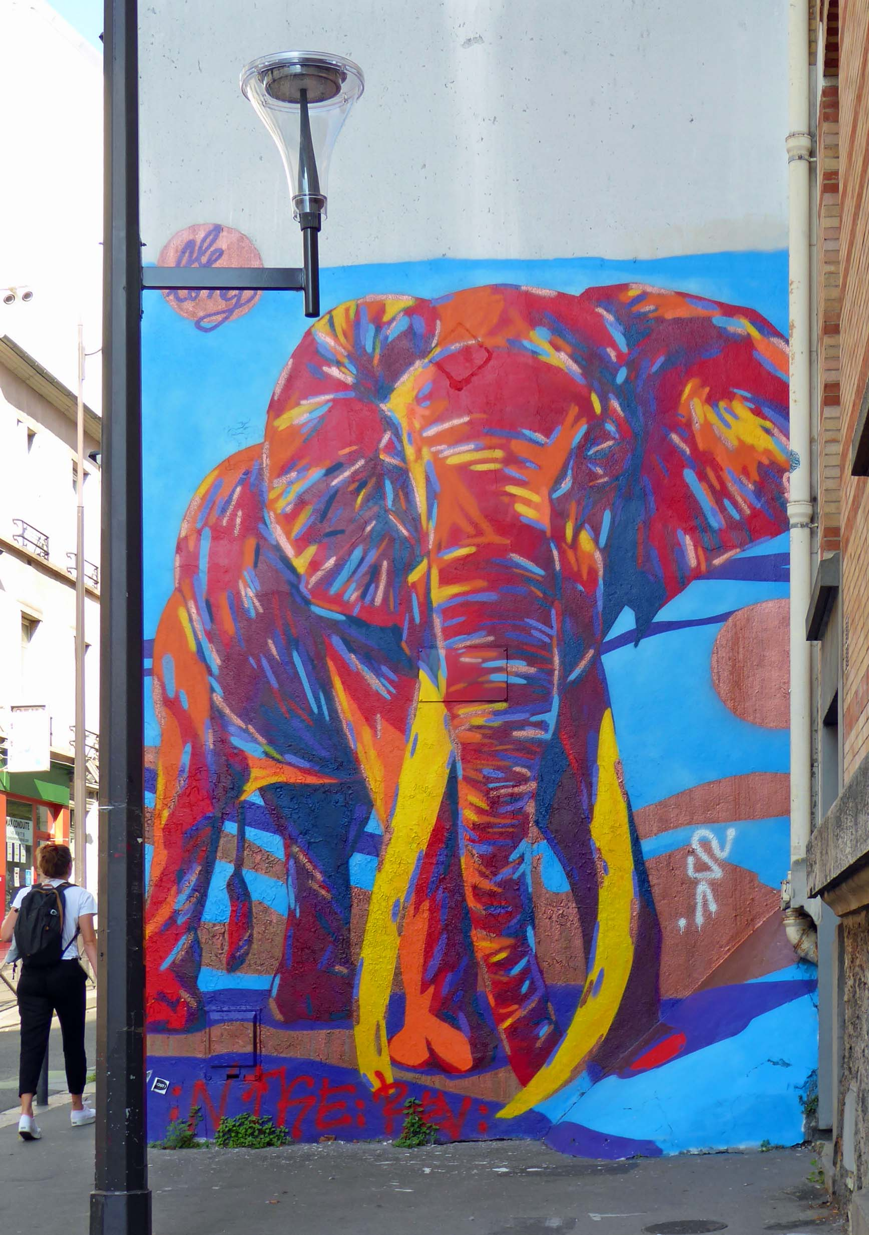 Mural of a colourful elephant