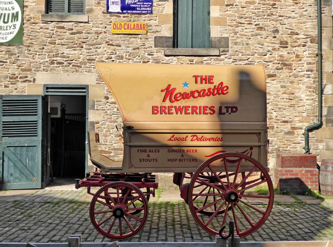 Cart advertising Newcastle beer