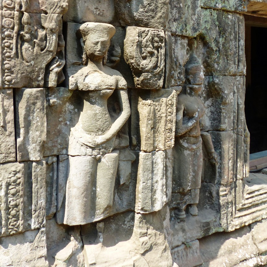 Carvings of girls in traditional dancing costumes