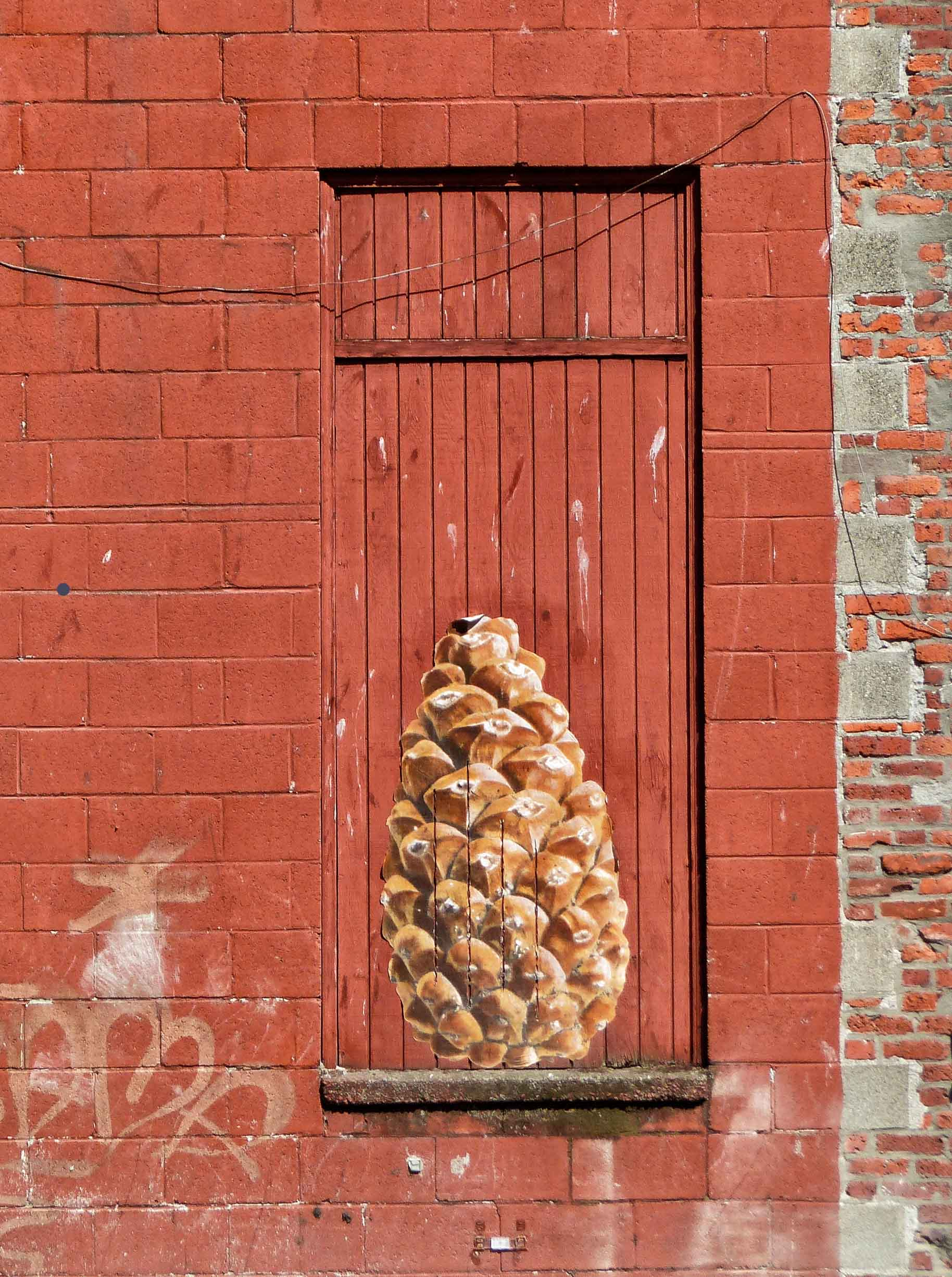 Painting of a fir cone on a wooden shutter