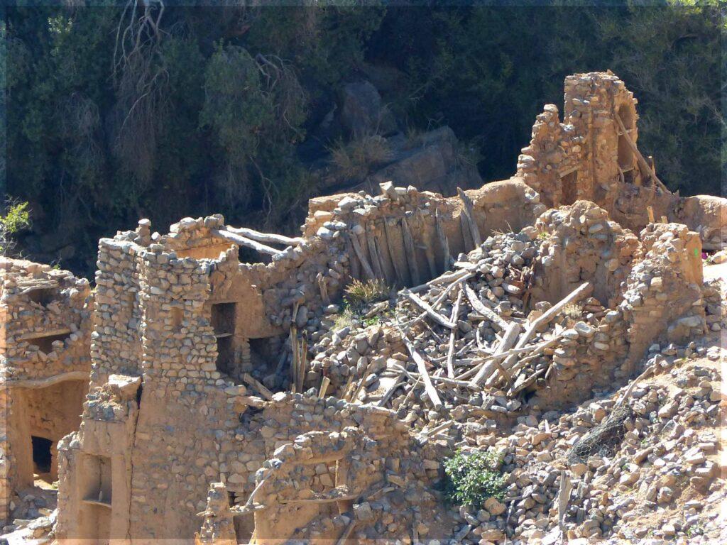 Ruined stone house on mountainside