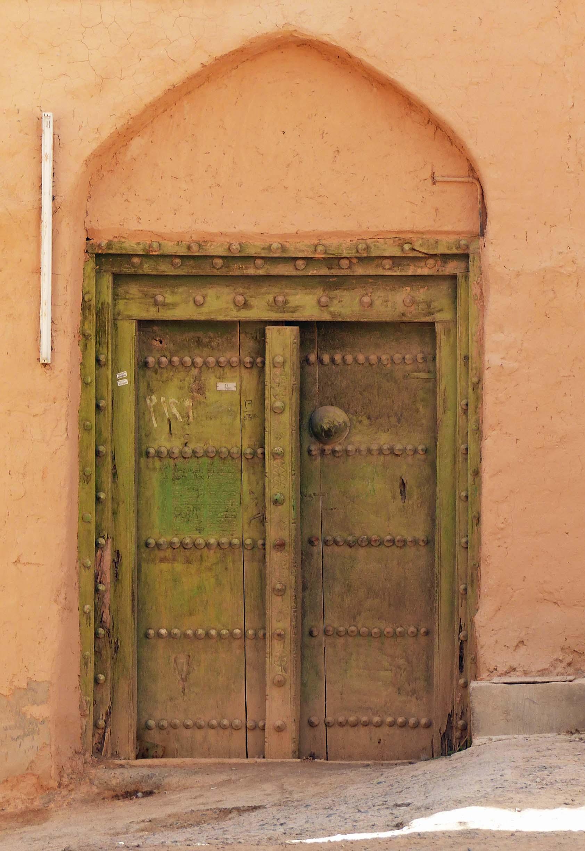 Olive green painted door