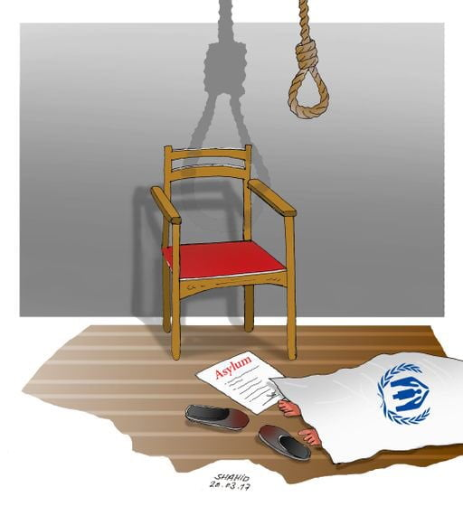 Immigration and suicide, Cartoon byAtiqullah Shahid, fromAfghanistan