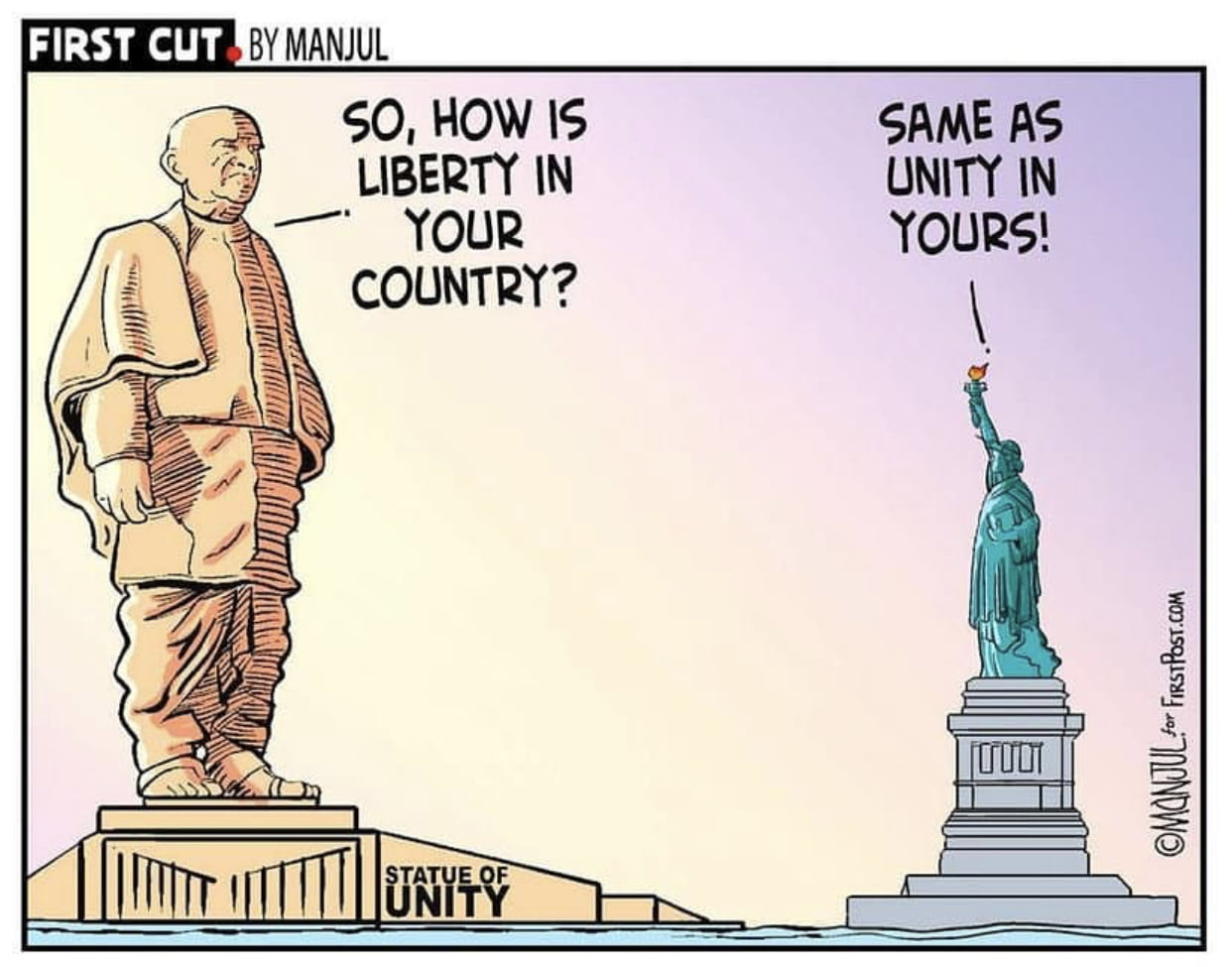 The Statue Of Unity VS The Statue Of Liberty - Toons Mag