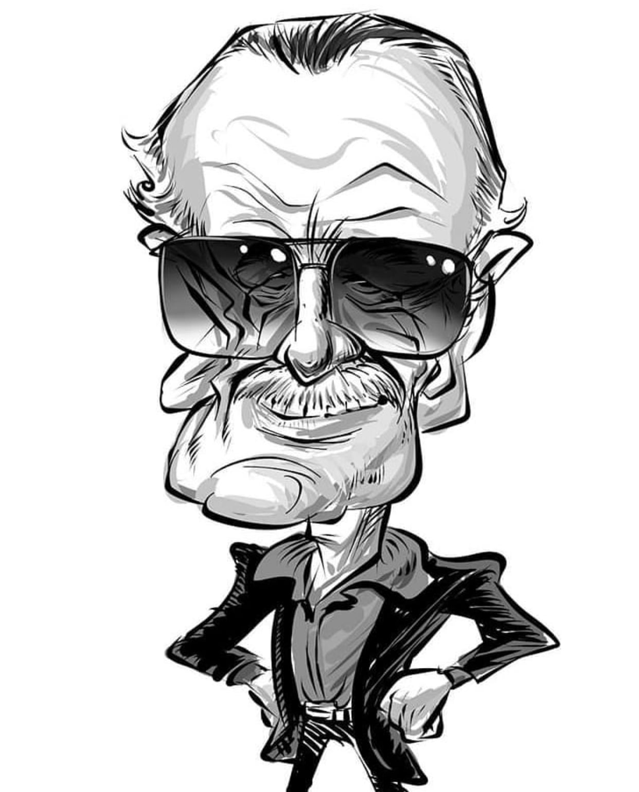 Black and White Stan Lee, Caricature by William Jeovah de Medeiros, from Brazil