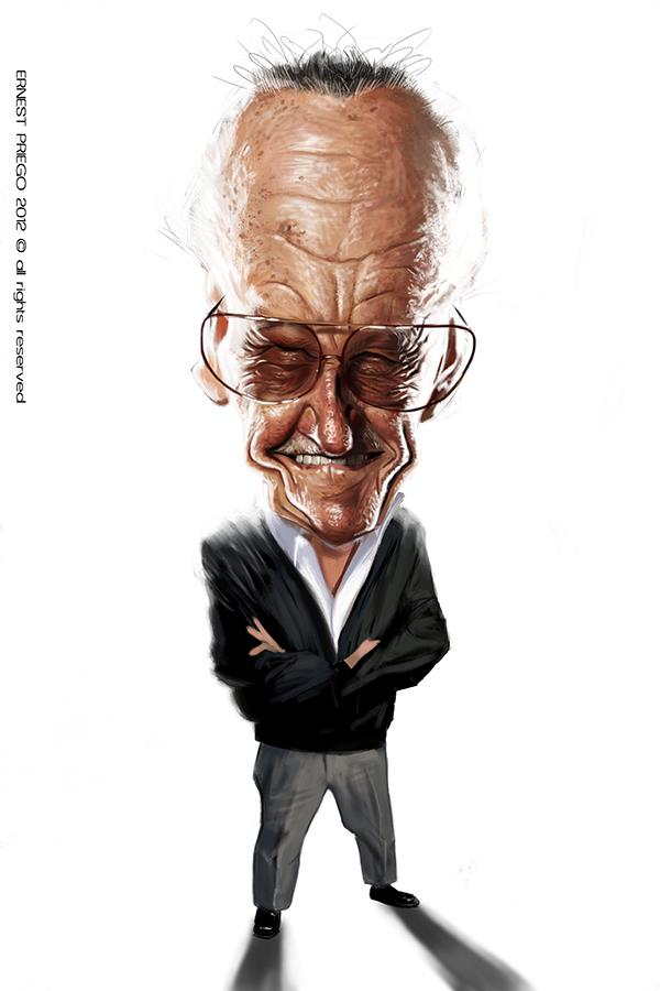 Stan Lee Caricature, by Ernesto Priego, from Barcelona, Spain