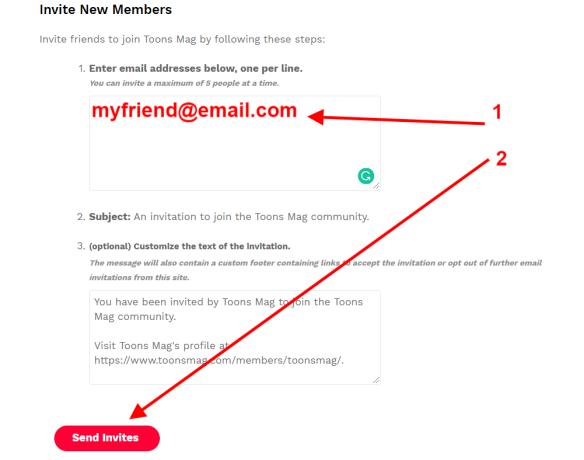 Send Invite Page