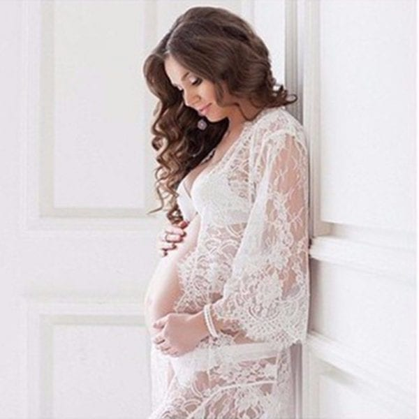 Puseky Maternity Photography Props Pregnant Dress For Photo Shoot Maternity Clothes Long Lace Dress Pregnancy Clothing V Neck 3