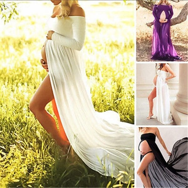 Pregnancy Clothing Maternity Stretchy Sexy lash Neck Maxi Dresses Women Photo Shoot Clothing 2