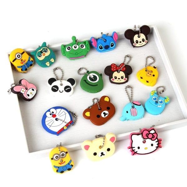 Cartoon Anime Cute Key Cover Cap Silicone Mickey Stitch Bear Keychain Women Gift Owl Porte Clef Hello Kitty Minne Key Chain 3
