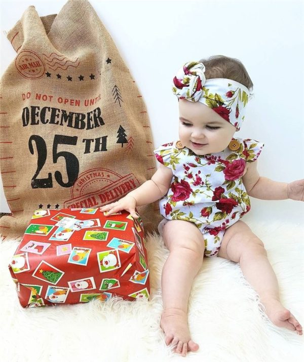 2017 Floral Newborn Baby Girl Clothes Ruffles Sleeve Bodysuit +Headband 2pcs Outfit Bebek Giyim Sunsuit 0-24M 2
