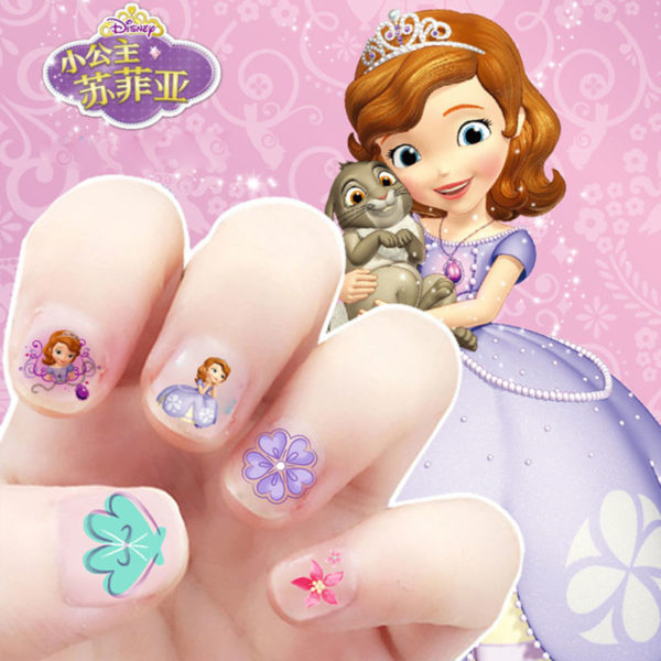 Frozen elsa and Anna  Makeup Toy Nail Stickers Toy Disney snow White Princess Sophia Mickey Minnie girls sticker for kids gift 2