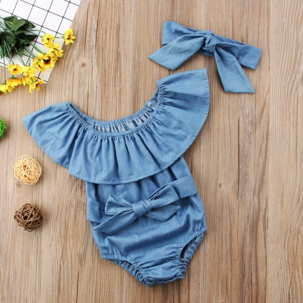 Cute Newborn Toddle Infant Baby Girls Front Bowknot Bodysuit Ruffle Sleeveless Jumpsuit Cotton Summer Outfits Clothes 0-24M
