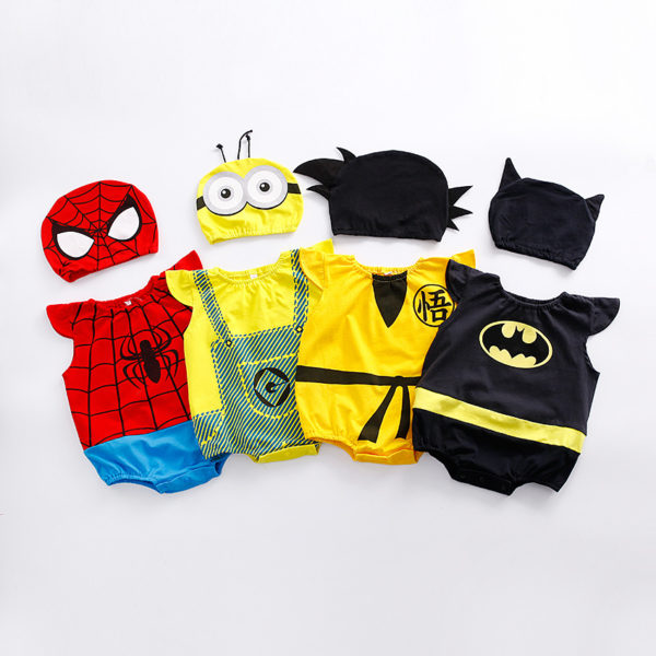 1pc romper 1pc Hat Newborn Baby Cotton rompers suits baby boys'  clothing Dragon Ball Spiderman Hero outifts Summer jumpsuits