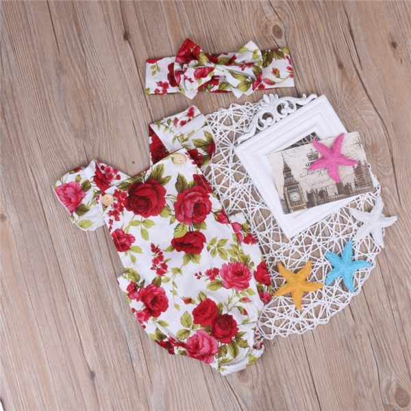 2017 Floral Newborn Baby Girl Clothes Ruffles Sleeve Bodysuit +Headband 2pcs Outfit Bebek Giyim Sunsuit 0-24M 3