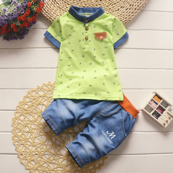 BibiCola baby boys summer clothes newborn children clothing sets for boy short sleeve shirts + jeans cool denim shorts suit 3