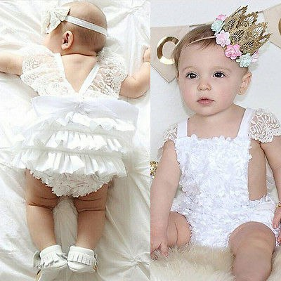 2018 Multitrust Brand Cute Newborn Infant Baby Girl Clothes Lace Tutu Romper Sleeveless Cake Sunsuit White Summer Outfits SS 2