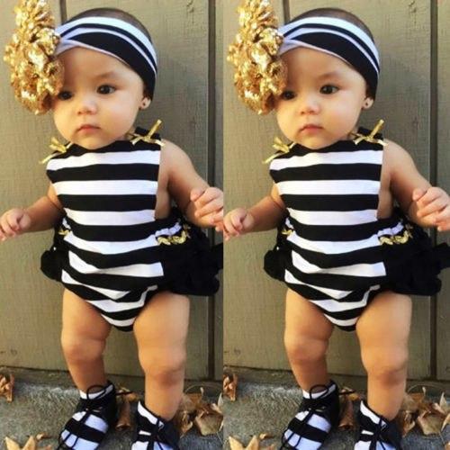 Cute Newborn Baby Girls romper cotton Striped Ruffle Romper Sunsuit Outfits+headband set -0-24m 1