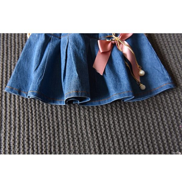LOVE DD&MM Girls Sets 2019 Summer New Clothing Girls Fashion Hollow V-Neck Short-Sleeved T-Shirt + Denim Skirt Baby Suit 5